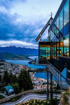 Skyline Restaurant, Queenstown, New Zealand. The luge ride up there is lot of fun! And the view...