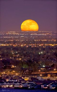 Moonrise over Fort Collins, Colorado.