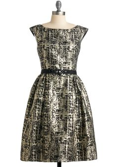Pyrite Perfect Dress - Gold, A-line, Cap Sleeves, Rhinestones, Formal, Wedding, Party, Vintage Inspired, Fall, Long, Black, Prom