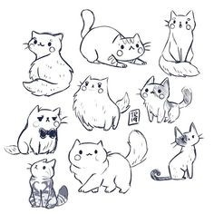A lot of kitties sketches from yesterday😻❤️ I was really in a cat mood and what time is more perfect to post it then Thank you… Cute Cat Drawing, Cute Animal Drawings, Animal Sketches, Cute Drawings, Art Sketches, Kitty Drawing, Cat Drawing Tutorial, Drawing Art, Cat Reference