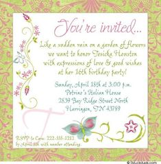 Butterfly Birthday Invitation Wording