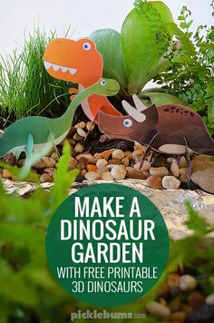Make a dinosaur garden for imaginative play - plus free printable 3D dinosaurs to make!