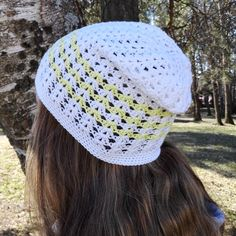 Slouchy spring hat for women white and yellow by MadeByKirsti