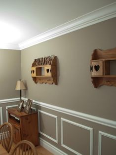 Chair Rail Moulding...maybe add stencils inside boxes.....love the wainscoting!!