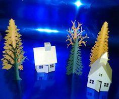 DIY tea light village extras set of four by hilemanhouse on Etsy