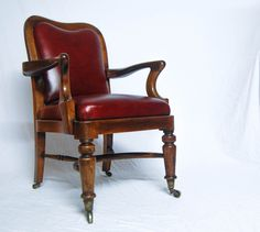 Late Victorian Mahogany Desk Chair by Herring, Son & Clark, 109 Fleet Street, London