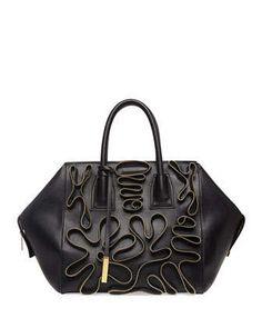 Cavendish Faux-Napa Zipper Boston Tote Bag, Black by Stella McCartney at Neiman Marcus.
