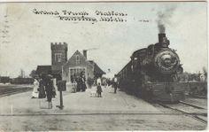 LANSING Michigan postcard train railroad GRT Grand Trunk station depot
