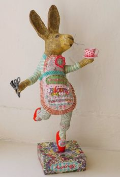 Paper Mache Bunny by Vanessa Cabban Paper Mache Projects, Paper Mache Clay, Paper Mache Sculpture, Paper Mache Crafts, Sculpture Art, Ceramic Sculptures, Needle Felted, Funny Bunnies, Paperclay