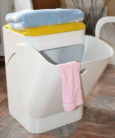 WHITE COMPONIBILI Laundry Basket Bathroom Kitchen Bedroom Storage Cabinet Bin