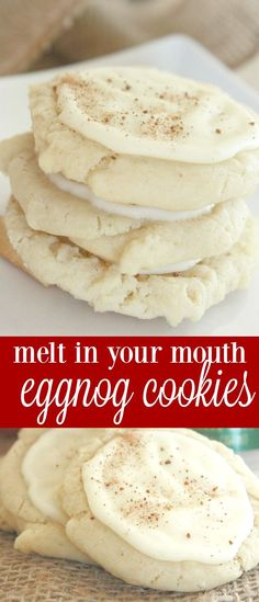 Melt-In-Your-Mouth Eggnog Cookies – One of my favorite holiday cookies! These m… Melt-In-Your-Mouth Eggnog Cookies – One of my favorite holiday cookies! These moist cookies are awesome for a cookie exchange or the Christmas cookie swap! Keks Dessert, Dessert Oreo, Eggnog Cookies, Cookies Et Biscuits, Xmas Cookies, Easy Christmas Cookies, Sugar Cookies, Holiday Treats, Holiday Recipes