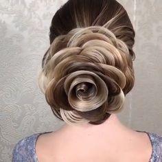 Hair art tutorials😍👌🏻 By: art videos Awesome hair! Box Braids Hairstyles, Pretty Hairstyles, Wedding Hairstyles, Hairstyles Videos, Easy Hairstyle, Hair Up Styles, Medium Hair Styles, Hair Art, Hair Videos