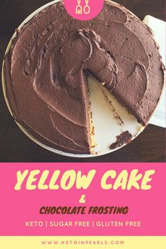 This buttery and golden to perfection yellow cake will leave your tastebuds dancing! It's keto, low carb, sugar free & gluten free too! Classic Yellow Cake with Chocolate Frosting Keto Friendly Desserts, Low Carb Desserts, Diabetic Friendly, Yellow Cake Chocolate Frosting, Cake Recipes, Dessert Recipes, Ketogenic Recipes, Keto Recipes, Ketogenic Diet