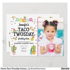 Fiesta Taco Twosday Cactus Girl 2nd Birthday Party Invitation Girl 2nd Birthday, Birthday Design, 2nd Birthday Parties, Happy Birthday, Birthday Ideas, Birthday Activities, 2nd Birthday Invitations, Zazzle Invitations, Invites