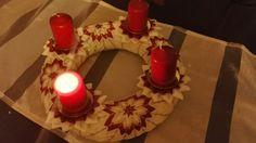 Kanzashi vianočný veniec. Birthday Candles, Handmade, Hand Made, Craft