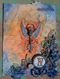 18 x 24 cm canvas in the steampunk style of Finnabair