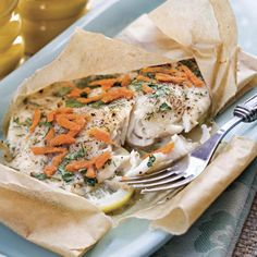 Lemon-Dill Tilapia  Baking in parchment paper makes this fish light, flaky, and pretty to serve