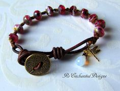 Rustic Knotted Boho Picasso Rosy Bracelet by RoEnchantedDesigns, $17.00