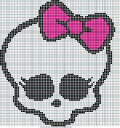 Cross Stitch - Monster High Skullette by madwriter on DeviantArt Cross Stitch Skull, Beaded Cross Stitch, Cross Stitch Charts, Cross Stitch Designs, Cross Stitch Embroidery, Cross Stitch Patterns, Crochet Skull, Catty Noir, Perler Patterns