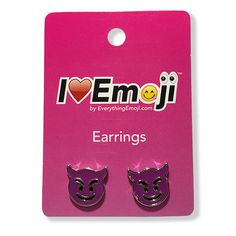 Everything Emoji Purple Devil Silver Stud Earrings Cute Emoticon Jewelry Gifts for sale online Emoji Jewelry, Emoji Earrings, Jewelry Gifts, Fine Jewelry, Gold Bar Earrings, Cluster Earrings, Minimalist Earrings, Minimalist Jewelry, Gold Studs