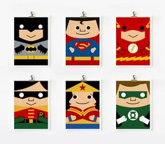 Make way... the Justice League has arrived! Complete set of cartoon style prints of all the ultimate and fearless super heroes by the phenomenal Loopz!  Wonder Woman, Super Man, Batman and his sidekick Robin not to mention The Flash and Green Lantern....   Each Loopz print is signed and dated by the artist and ready to be framed. #littlebooteekau #kidspaces #superheroes #kidsdecor #kidsrooms