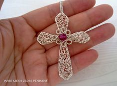 Handmade Wire Cross Pendant with Swarovski by EMILYSECRETPASSIONS