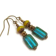 $24 Teal Blue Earrings Picasso Czech Glass by RockStoneTreasures
