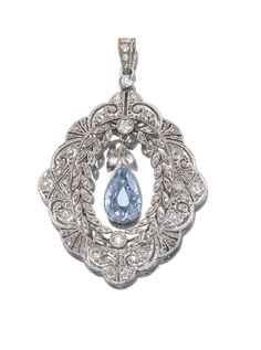 FANCY GREYISH BLUE DIAMOND AND DIAMOND PENDANT, CIRCA 1910