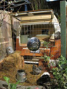 chicken coop in vw bus