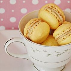 Light crisp macarons with nutty toffee filling