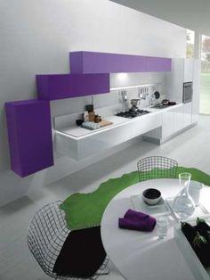 White Purple Minimalist Kitchen Design by Delta Studio Pictures