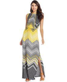 Sangria Chevron Tribal-Print Maxi Dress