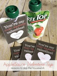 Preschool Valentines - Free Printable Applesauce Tags- Reasons To Skip The Housework #printables #preschool #preschoolvalentines