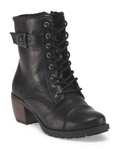 image of Lace Up Boot With Buckle