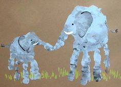 Grandparent's Day project for Kindergarten (child's handprint with Grandparent's handprint) (September 9, 2013)