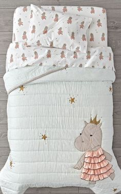Shop Royal Hippo Toddler Bedding.  The regal hippos on this charming Toddler Bedding don't require you to bow or curtsey.  They just ask that you add them to any toddler bedroom for a playful touch.