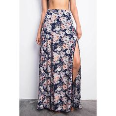 Pink Ice Double Exposure Maxi Skirt (54 AUD) ❤ liked on Polyvore featuring skirts, blue, pink skirt, long floral skirts, rayon maxi skirt, pink floral skirt and long skirts