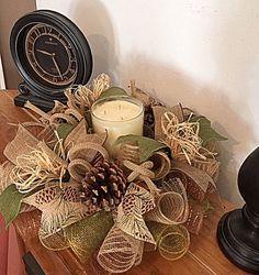 15 Pinecone Burlap Candle Centerpiece/Pinecone by CKDazzlingDesign