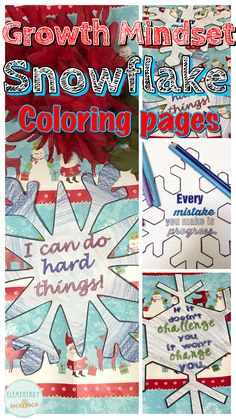 Snowflake growth mindset winter coloring pages