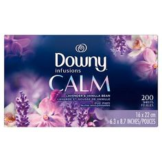 Downy Infusions Calm Dryer Sheets - Lavender and Vanilla Bean - Downy Fabric Softener, Fabric Softener Sheets, Lavender Scent, Vanilla, Serenity, Dryers, Household Products, Cleaning Products, Cleaning Tips