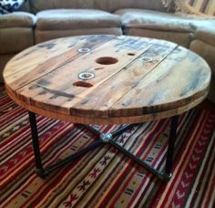 Rustic reclaimed spool/wood coffee table