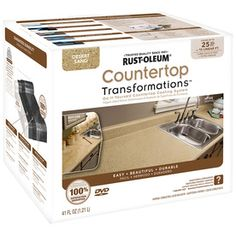 Rustoleum has made it easy to transform the look of your kitchen countertops using their Countertop Transformations Kit. It's easy to apply and cheap to boot! Resurface Countertops, Bathroom Countertops, Painting Countertops, Countertop Paint Kit, Epoxy Countertop, Rustoleum Countertop Transformations, Countertop Makeover, Rustoleum Cabinet Transformation, Cabinet Transformations