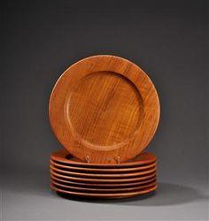 Kay Bojesen teak cover plates, Ø 27,5 cm