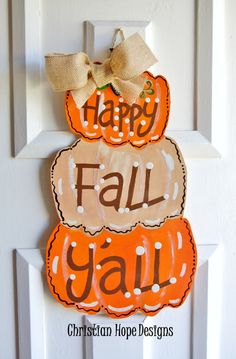 Thanksgiving/ Fall Pumpkin Door Hanger on Etsy, $15.00