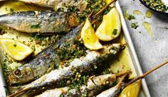 Beautifully grilled sardines with a medley lemon, rosemary, parsley, garlic, green olives and capers. A stunning fish recipe from Rick Stein's Fish & Shellfish. Braai Recipes, Grilled Fish Recipes, Healthy Grilling Recipes, Side Recipes, Cooking Recipes, Dinner Recipes, Seafood Platter, Seafood Dishes, Fish Dishes