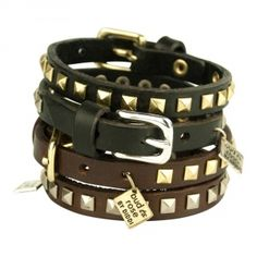 € 17,50 Leather cuff bracelet Bud to Rose - Laguna- Black/Silver