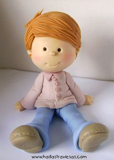 *SORRY, no information as to product used Polymer Clay Figures, Polymer Clay Dolls, Polymer Clay Projects, Polymer Clay Creations, Fondant Figures Tutorial, Cake Topper Tutorial, Fondant People, Cupcakes Decorados, Clay People