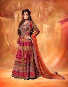 Dia Mirza (Glamor Vol-12) Red & Pink Color Georgette & Net based Lehngha Choli - JustKartIt