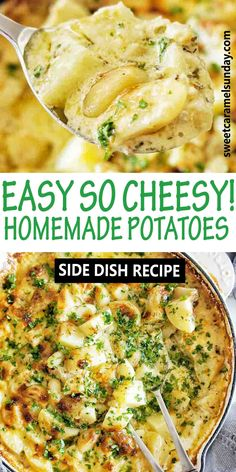 Easy oven baked cheesy potatoes in a creamy sauce. This comfort food recipe is simple and works as the best side dish for many dishes! #cheesypotatoes @sweetcaramelsunday