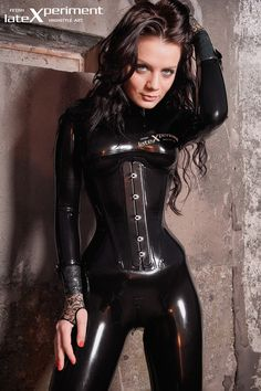 black latex catsuit  corset